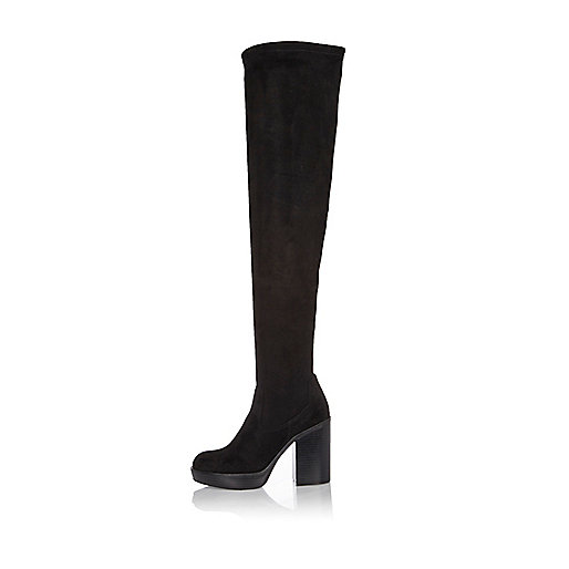 Black platform knee high boots