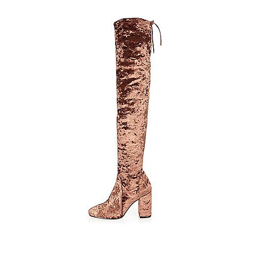 Dark orange velvet over the knee heeled boots