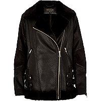Black leather look aviator jacket