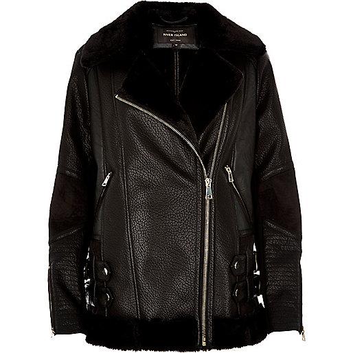 Veste en cuir synthétique noir style aviateur