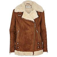 Tan oversized aviator jacket