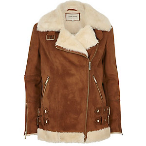 Tan oversized aviator jacket