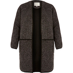 Dark grey minimal tweed jacket