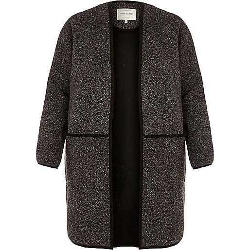 Dark grey minimal tweed jacket