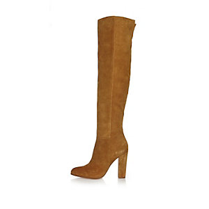 Tan suede high leg heeled boots