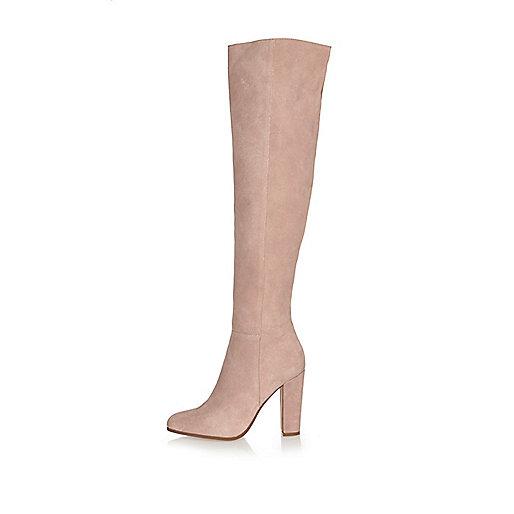 Light pink suede high leg heeled boots