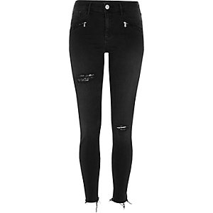 Black washed distressed Molly jeggings