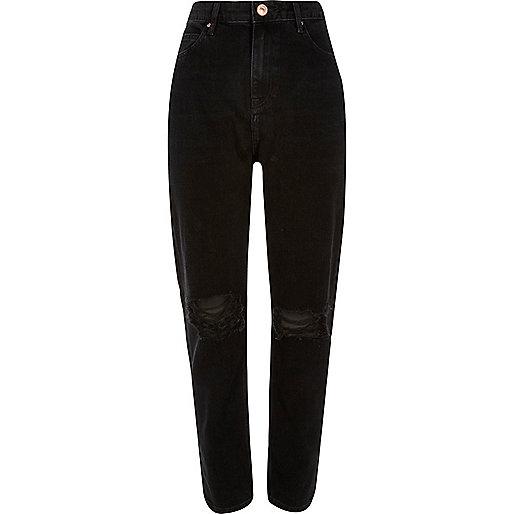 Schwarze Jeans im Used-Look