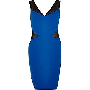 Blue mesh panel dress