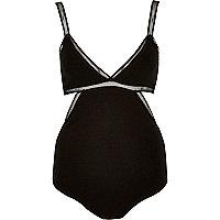Black mesh cut-out bodysuit