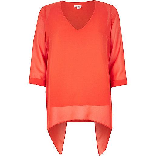 Orange split back top