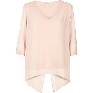 Light pink split back top