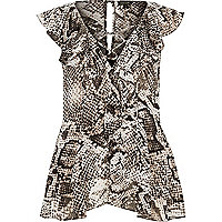 Grey snake print frill top