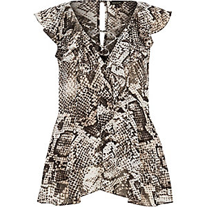 Grey snake print frilly top