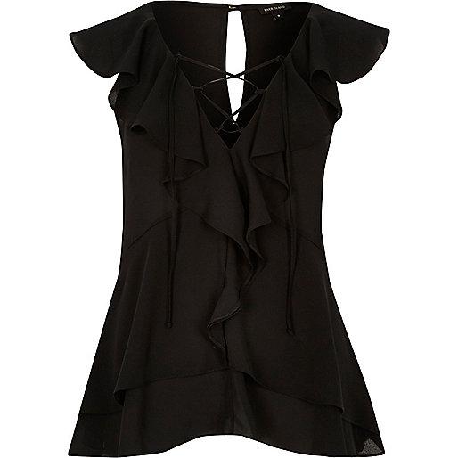 Black frill blouse