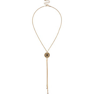 Gold tone long pendant necklace