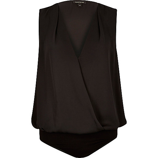Black wrap blouse bodysuit