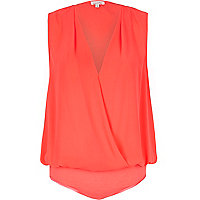 Pink wrap blouse bodysuit