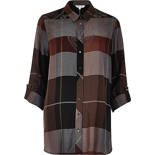 Grey check stud shirt