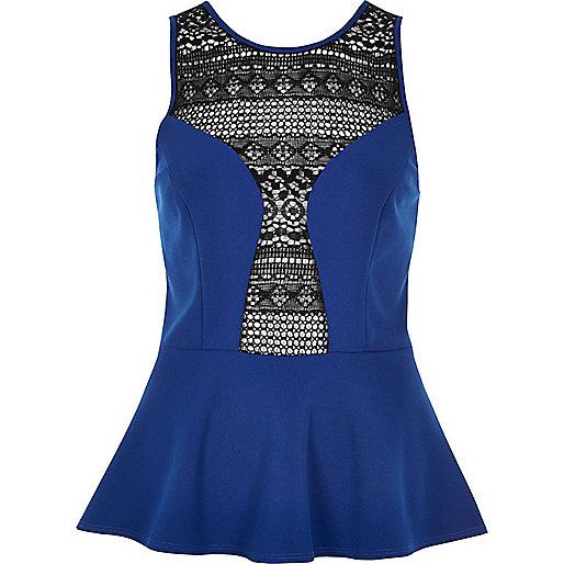 Blue crochet panel peplum top