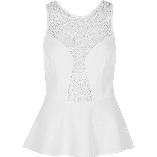 White crochet panel peplum top