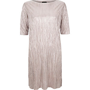 Pink pleated metallic dress