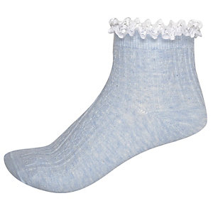 Light blue cable knit frilly socks