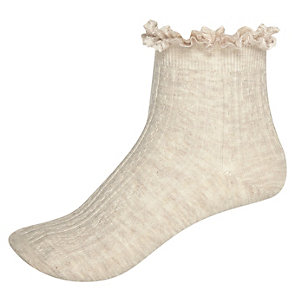 Beige cable knit frilly socks