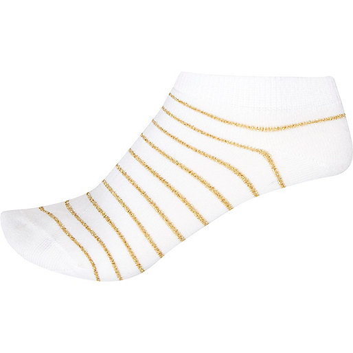 White stripe trainer socks