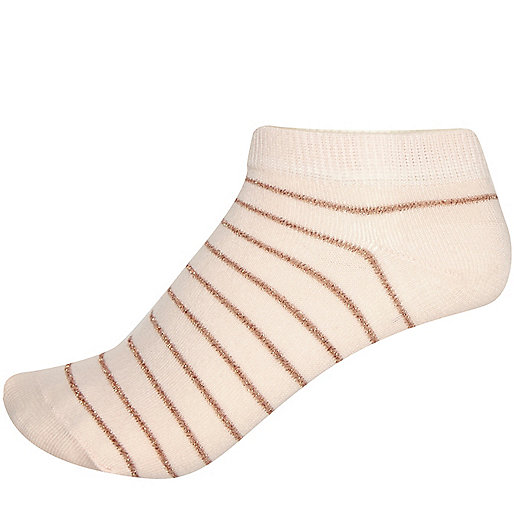 Light pink stripe trainer socks