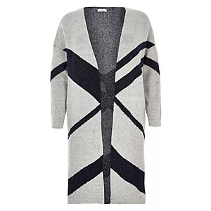 RI Plus grey print longline cardigan
