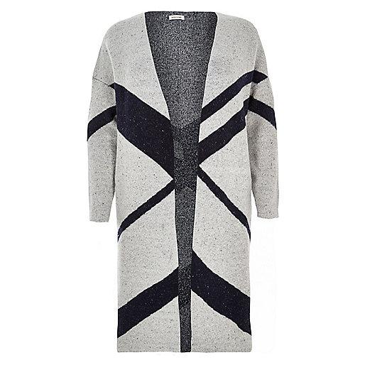 Plus grey print longline cardigan