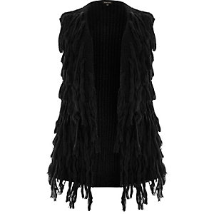 Plus black sleeveless shaggy cardigan