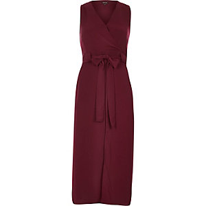 Dark red belted midi dress