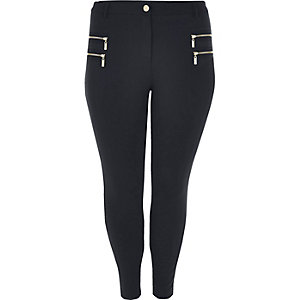 RI Plus navy zipped skinny fit trousers