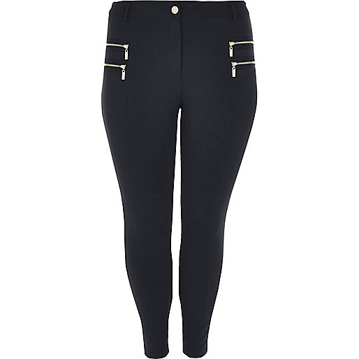 Plus navy zipped skinny fit trousers
