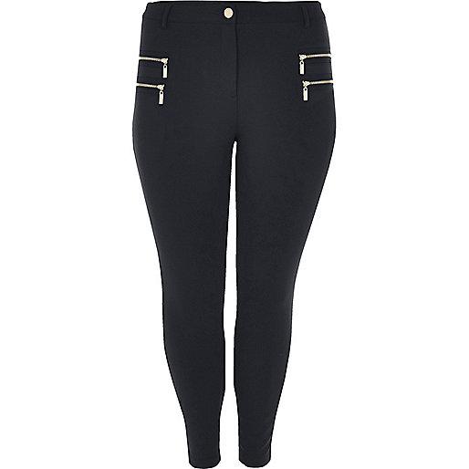 Pantalon RI Plus skinny bleu marine zippé