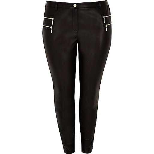 Plus black leather look zipped pants
