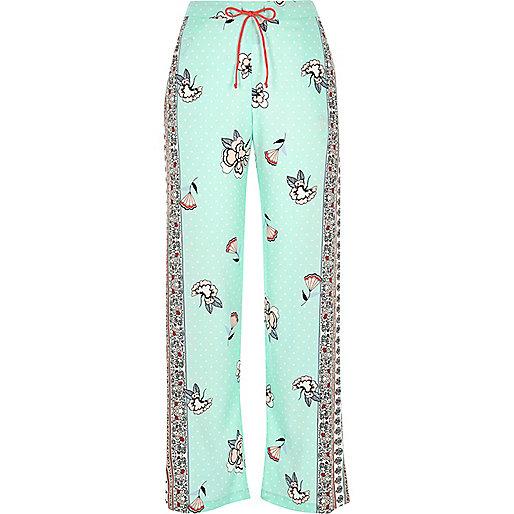 Blue floral print pyjama bottoms