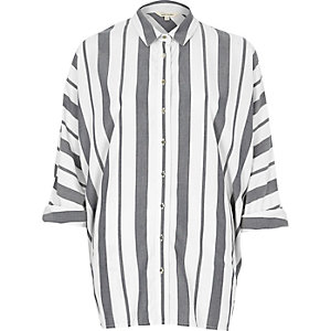 Navy stripe oversized shirt