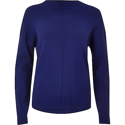 Bright blue ribbed detail jumper