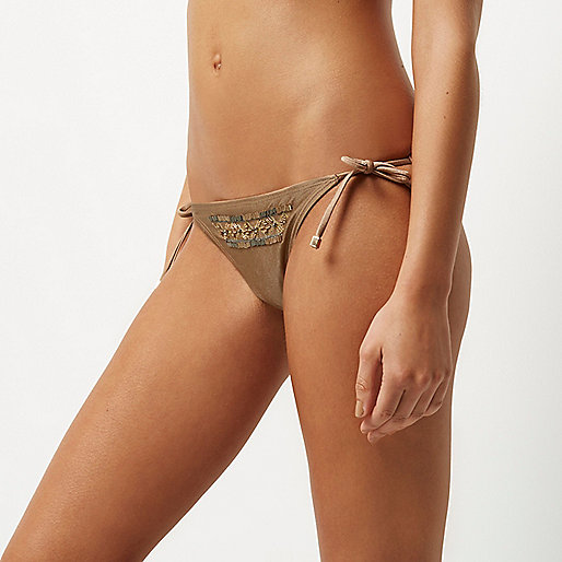 Light brown embellished string bikini bottoms
