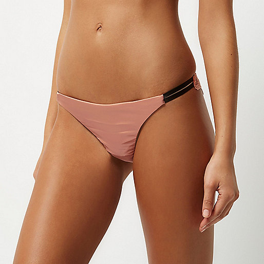 Pink satin knickers