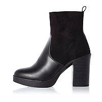 Black panel platform heel boots