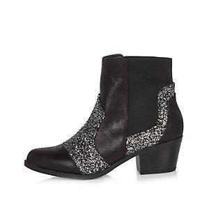 Black glitter Western boots
