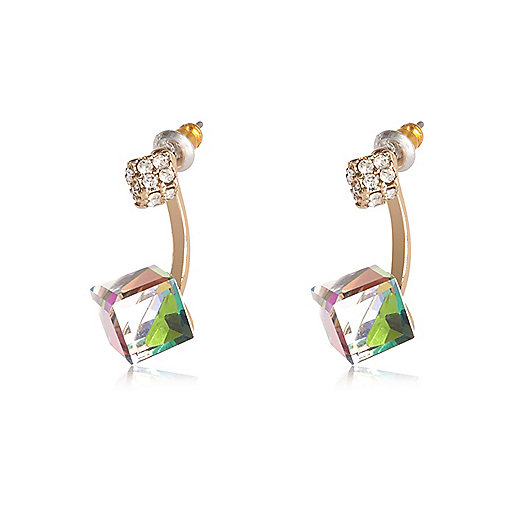 Gold tone cube drop earrings