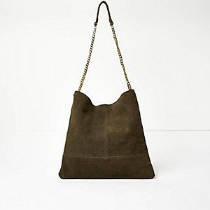 Khaki suede chain handbag