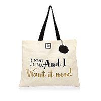 Beige Shopper-Tasche mit Slogan