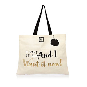 Beige slogan print shopper bag