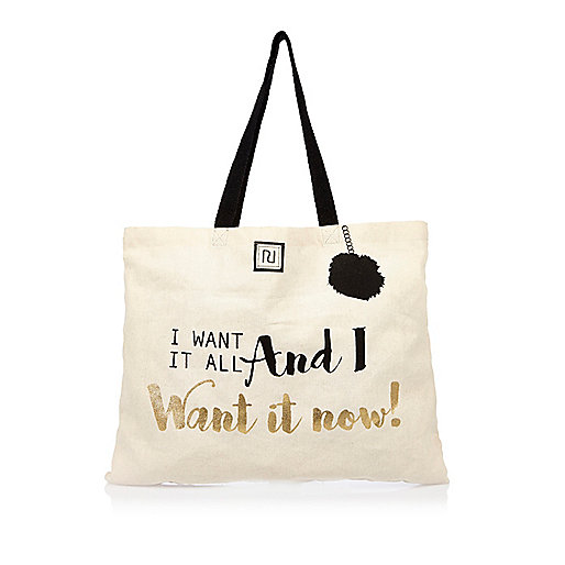 Beige slogan print shopper bag